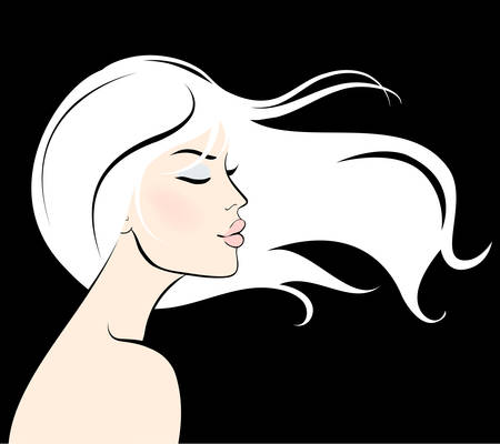 long: woman face with long hair Illustration