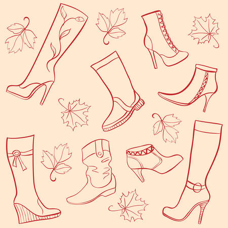 autumn season ladies shoes Vector