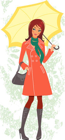 overcoat: Woman with umbrella Illustration