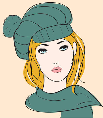 warm clothing: Girl in autumn hat