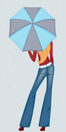 girl in jeans with umbrella Stock Vector - 7802244