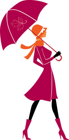 mujer elegante con paraguas  Ilustración de vector
