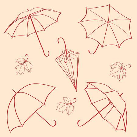 lluvia paraguas: conjunto de paraguas  Vectores