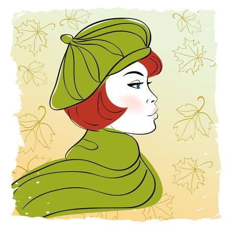 Girl in autumn hat  Vector