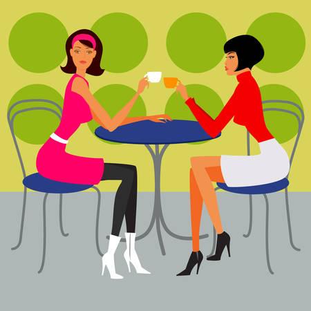 donna seduta sedia: due ragazze nella caffetteria  Vettoriali