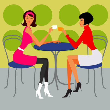 two girls in the cafe  Vector