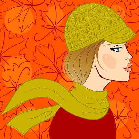 Girl in autumn hat Vector