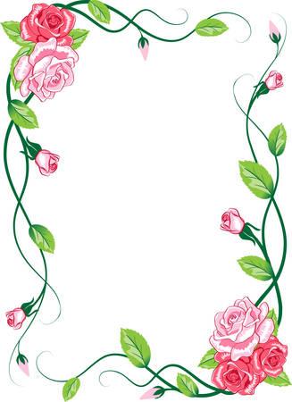 borde de flores: Floral rosa tarjeta de felicitaci�n