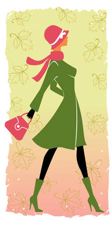 fashion illustration: stylish shopping girl in autumn Illustration