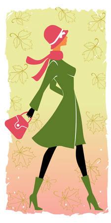 autumn fashion: stylish shopping girl in autumn Illustration