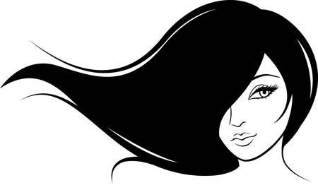 taglio capelli: ragazza faccia  Vettoriali