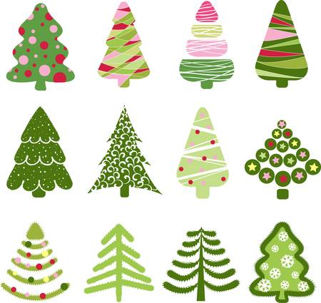 xmas background: Christmas set tree. Elements for design