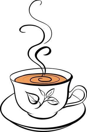hot chocolate drink: Estilizada taza de t� Vectores