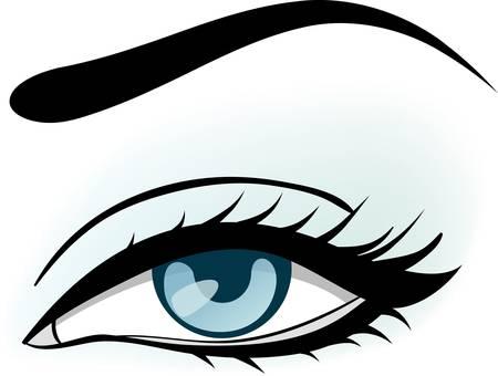 eyebrow makeup: illustrazione di occhio azzurro donna