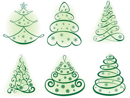 Christmas set tree.vector elements for design Stock Vector - 8002224