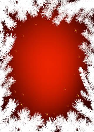 fir branch: Winter christmas vector border background