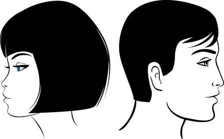 taglio capelli: ragazza e viso uomo vettoriale illustrazione colorata clipart