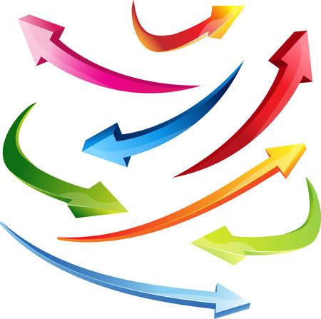 diminishing point: 3d set arrows vector illustration colorful clipart