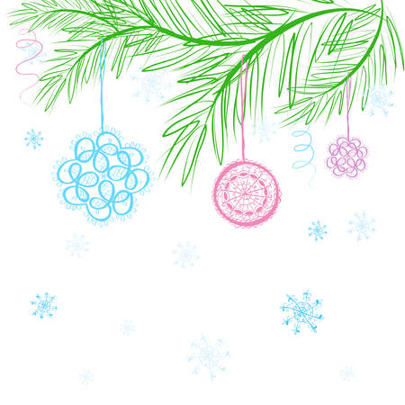 the abstract blue vector christmas tree and snow background Stock Vector - 8107754