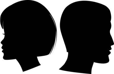perfil de mujer rostro: Ilustraci�n de hombre y mujer de cara de silueta de vectores