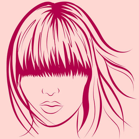 long: vector woman face with long stylish hair Illustration