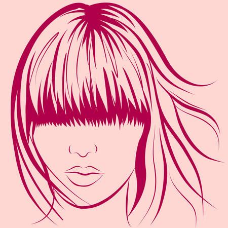 cara de mujer de vector con pelo largo con estilo