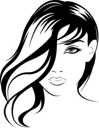 bocetos de personas: Ilustraci�n de retrato de chica de rostro de belleza