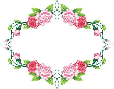 Greeting floral rose card. color illustration