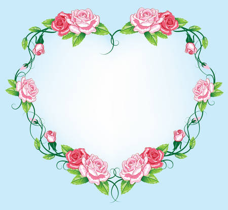 heart roses border. art work Vector