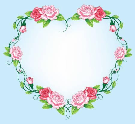 heart roses border. art work Stock Vector - 8250006