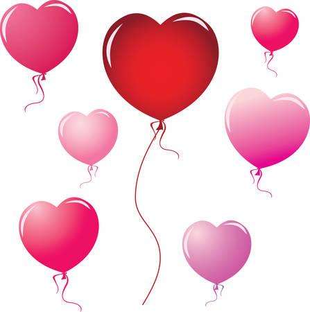 colored balloons: Heart Shape Balloons. design elements Illustration