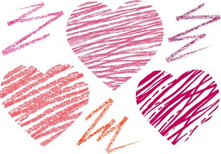 trait: abstract set hearts. chalk drawing