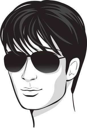 avatars: viso uomo. elemento di design Vettoriali