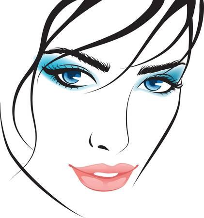 yeux maquill�: visage de jeune fille de beaut�. �l�ments de conception Illustration