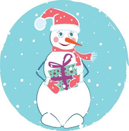 Merry Christmas card with snowman Stock Vector - 8388256