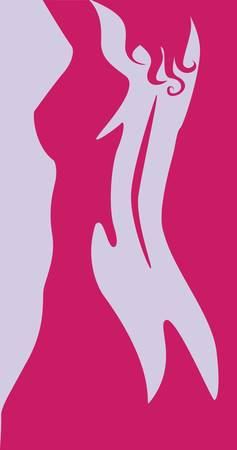 from behind: beautiful artwork nude woman silhouette Illustration
