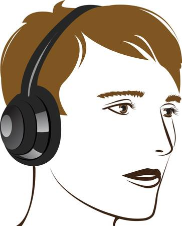 Young man listening music. Vector