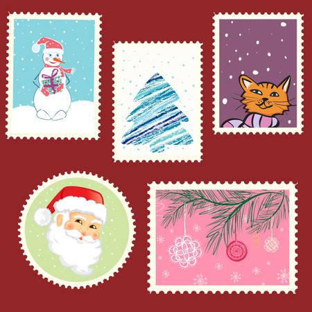 winter postage set. vector artwork Stock Vector - 8429234