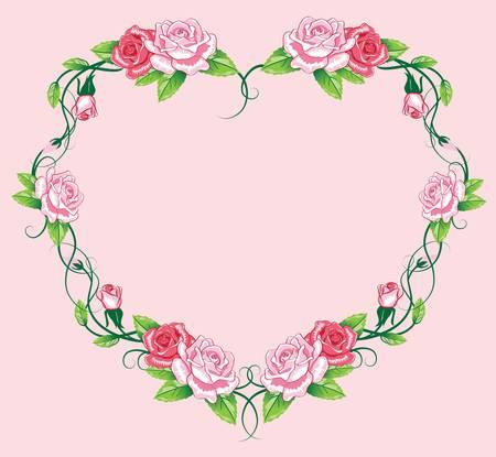art work: heart roses border. art work Illustration