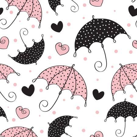 Abstract seamless Background with Umbrella und Herz Vektorgrafik