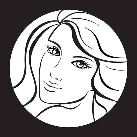 beauty girl face. Art  work illustration Vector