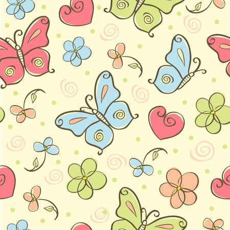 pink butterfly: seamless cute background with butterfly Stock Photo