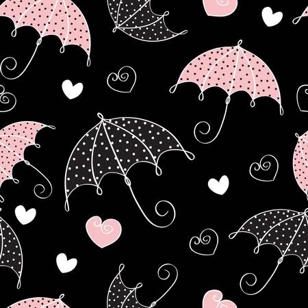 rain cartoon: abstract seamless background with umbrella and hearts Illustration
