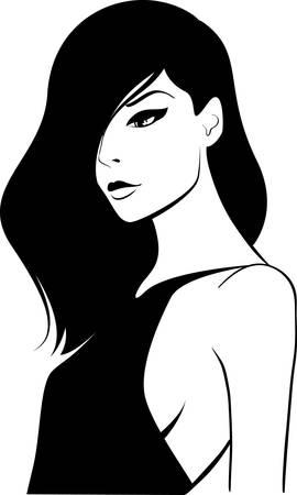 woman face with long dark hair Stock Vector - 8657514