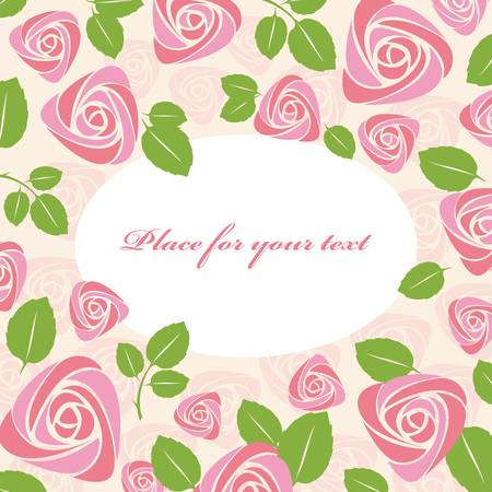 Greeting floral roses card Vector