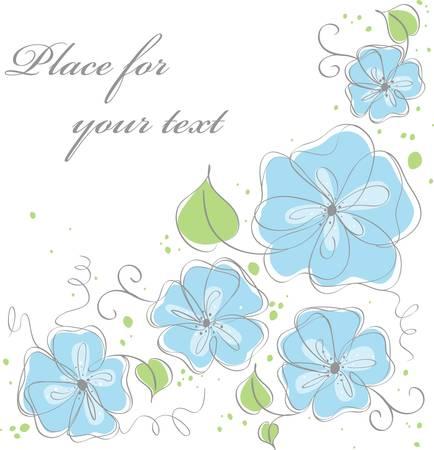 borde de flores: Lindo vector azul de fondo floral Vectores