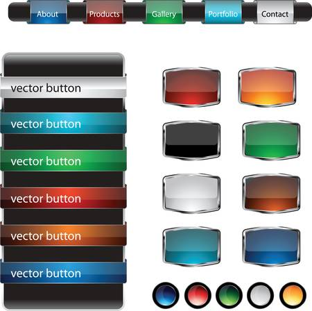 gradient: Web design frame buttons vector set