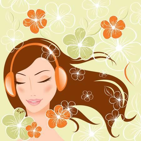 oir: muchacha bonita con auriculares. ilustraci�n vectorial