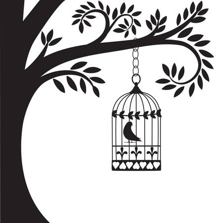 in a cage: bird cage and tree Illustration
