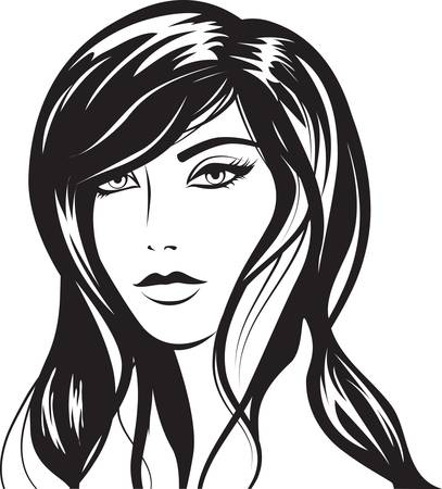 glamour girl with black hairs Stock Vector - 8884713
